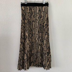 H&M Snake Print Pleated Midi Skirt